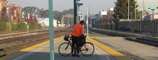 Train Tracks and Bicyclist