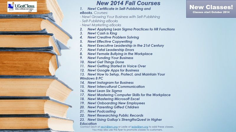 Flyer For Fall 2014 Courses